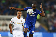 Sol Bamba of Cardiff City ® in action. EFL Skybet championship match, Cardiff city v Leeds Utd at the Cardiff city stadium in Cardiff, South Wales on Tuesday 26th September 2017.<br /> pic by Andrew Orchard, Andrew Orchard sports photography.