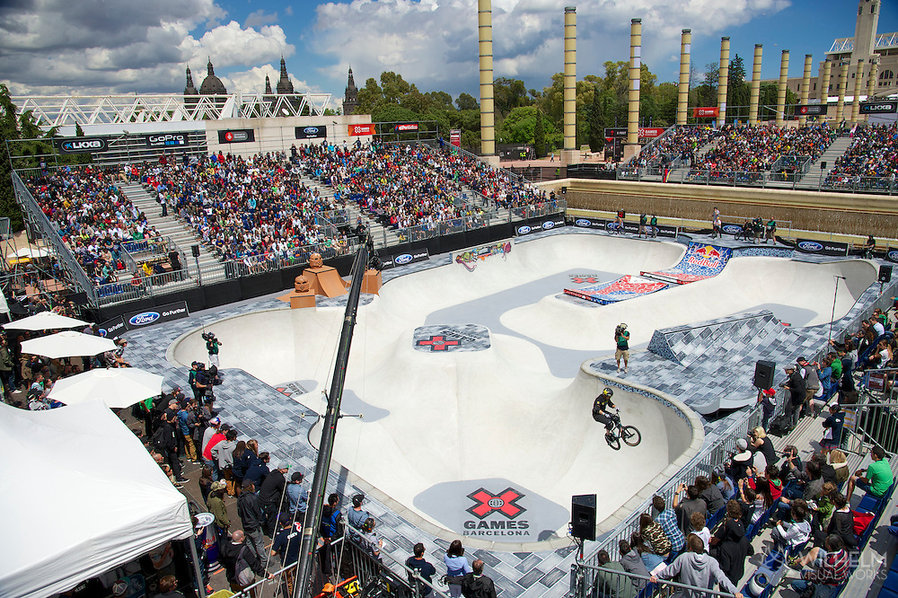 Ryan Nyquist overall during BMX Park Finals at the 2013 X Games Barcelona in Barcelona, Spain. ©Brett Wilhelm/ESPN