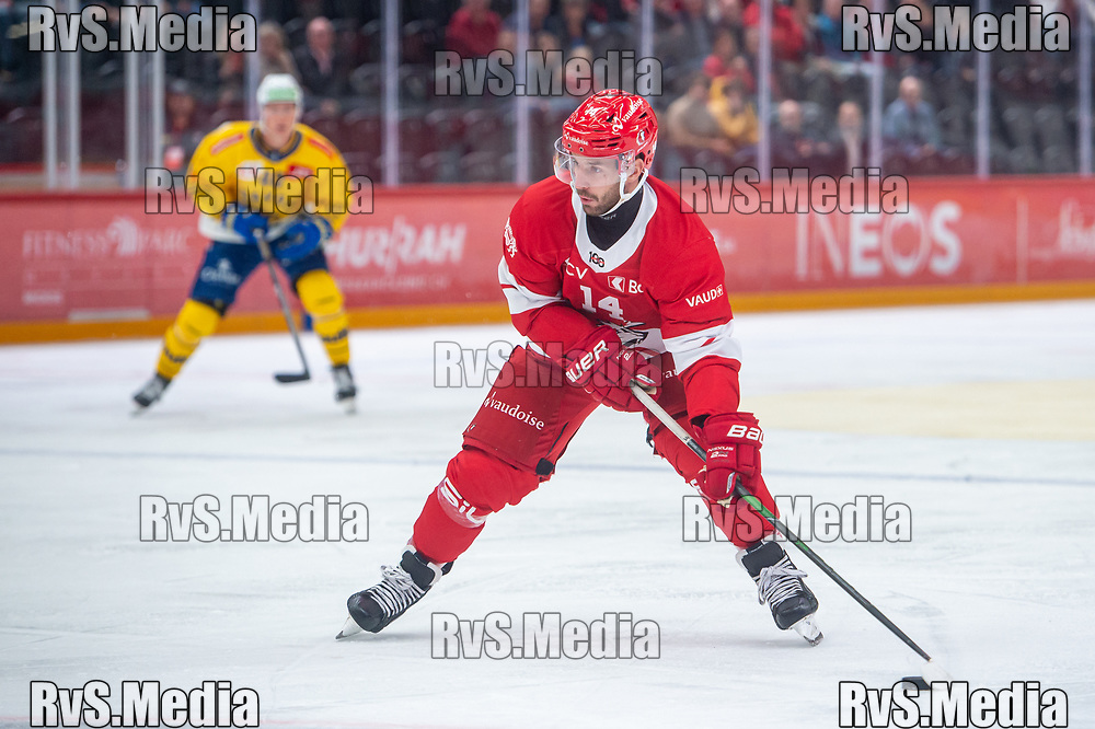 LAUSANNE, SWITZERLAND - SEPTEMBER 24: Jason Fuchs #14 of Lausanne HC in action during the Swiss National League game between Lausanne HC and HC Davos at Vaudoise Arena on September 24, 2021 in Lausanne, Switzerland. (Photo by Monika Majer/RvS.Media)