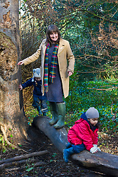 Pictured: Maree Todd needed some help on the slippery log<br /> Minister for Early Years and Childcare, Maree Todd today met a kindergarten class taking part outdoor learning at Luariston Castle Edinburgh.<br /> <br /> <br /> Ger Harley | EEm 22 February 2018