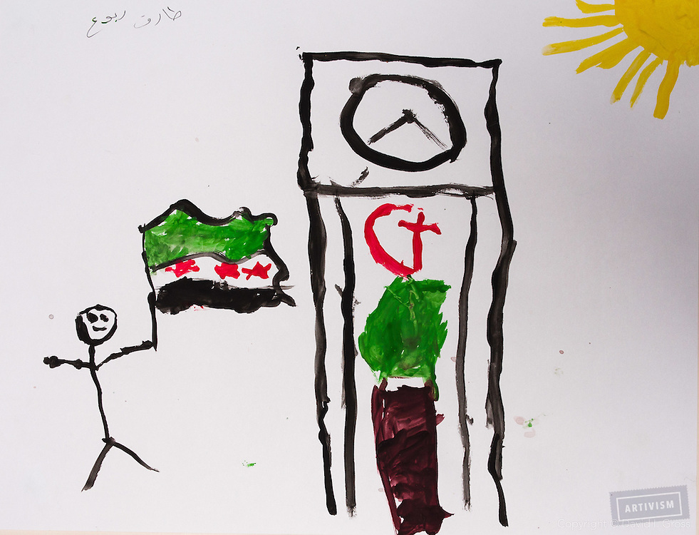 A Free Syria where everyone can get along. Drawing by 10-12 yr old boy, from art session with the neighborhood boys--not from the school. Topic for session: what do you dream about or hope for?