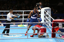Glasgow, Scotland - July 28: <br /> <br /> Boxing on Day 6 of the Glasgow 2014 Commonwealth Games at The SECC on July 28, 2014 in Glasgow, Scotland. <br /> <br /> Men's Super Heavy Weight, Ross HENDERSON ( SCO ) Vs Joseph JOYCE ( ENG )<br /> <br /> (Photo  by Marc Turner/Capture The Event)