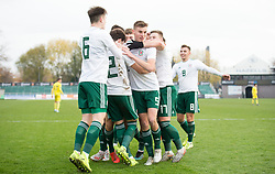 NEWPORT, WALES - Tuesday, November 19, 2019: Wales' Neco Williams celebrates scoring the second goal with Ryan Astley and other teammates during the UEFA Under-19 Championship Qualifying Group 5 match between Kosovo and Wales at Rodney Parade. (Pic by Laura Malkin/Propaganda)