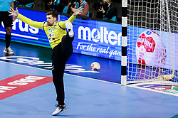 Urban Lesjak of Slovenia during handball match between National Teams of Germany and Slovenia at Day 2 of IHF Men's Tokyo Olympic  Qualification tournament, on March 13, 2021 in Max-Schmeling-Halle, Berlin, Germany. Photo by Vid Ponikvar / Sportida
