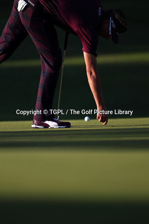 Ian POULTER (ENG) repairs pitch mark on 17th green during third round Turkish Airlines Open by Ministry of Culture and Tourism 2013,Montgomerie Course at Maxx Royal,Belek,Antalya,Turkey.