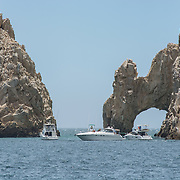 Excursion boats to The Arch. Cabo San Lucas, BCS. Mexico.