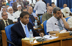 July 27, 2017 - Gaza City, Gaza Strip, Palestinian Territory - Members of the Palestinian legislative council from Hamas movement attend a meeting at the legislative council, in Gaza city on July 27, 2017  (Credit Image: © Mohammed Asad/APA Images via ZUMA Wire)