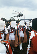Marine One lands as President Jimmy Carter campaigns with Senator Jennings Randolph in Elkins, W.VA in October 1978<br /> Photo by Dennis Brack