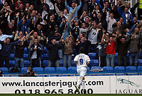 Photo: Alan Crowhurst.<br />Reading v Leeds Utd. Coca Cola Championship.<br />29/10/2005. Leeds' David Healy celebrates his goal infront of the Leeds supporters.