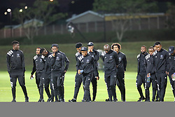17032018 (Durban) Orlando Pirates players leaving the checking the pitch before their match against Golden Arrows at Princess Magogo stadium<br /> Picture: Motshwari Mofokeng/African News Agency/ANA