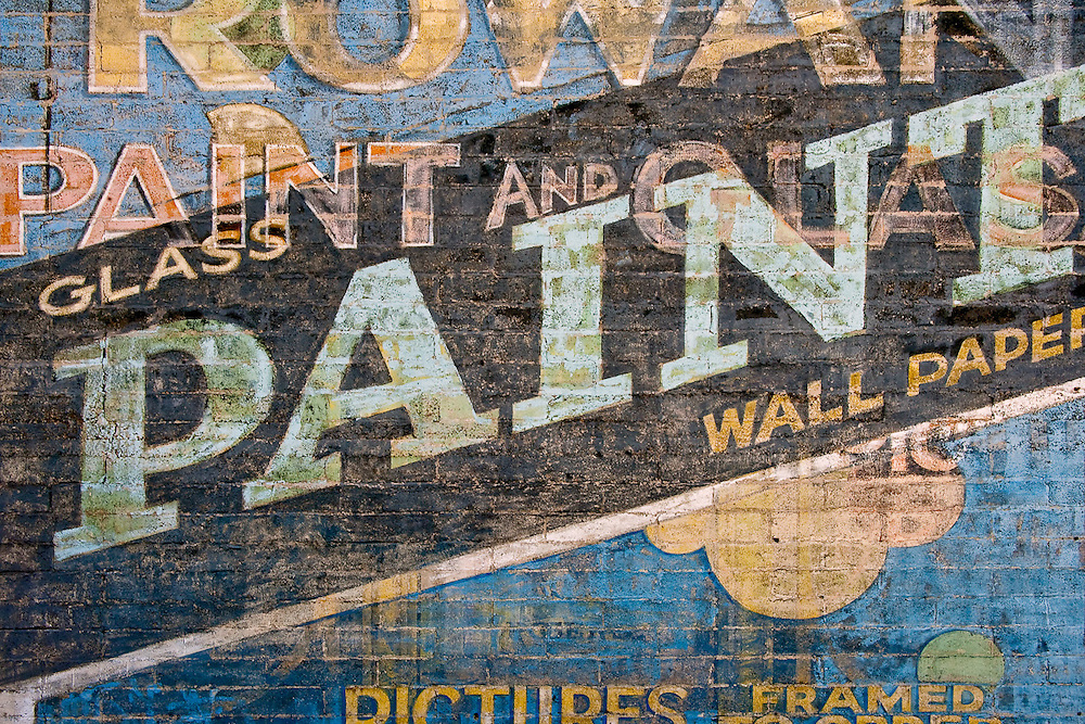 Advertising painted on a wall in Ely, Nevada.