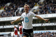 Tottenham Hotspur's Harry Kane celebrates after he scores his sides 2nd goal of the game.  Barclays premier league match ,Tottenham Hotspur v Fulham at White Hart Lane in Tottenham, London  on Saturday 19th April 2014.<br /> pic by John Patrick Fletcher, Andrew Orchard sports photography.