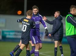 Falkirk's keeper Harry Burgoyne at the end. Falkirk 2 v 0 Ayr United, Scottish Championship game played 8/3/2019 at The Falkirk Stadium.