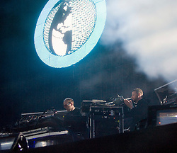 The Chemical Brothers headline on the NME stage at T in the Park Friday 11 July 2008..T in the Park 2008 festival took place on the Friday 10th July, Saturday 11th July and Sunday 12th July, at Balado, near Kinross in Perth and Kinross, Scotland..Pic ©Michael Schofield. All Rights Reserved..