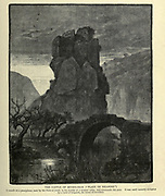 Wood engraving of The castle of the Museilihah (The palace of weapons). It stands on a precipitous rock by the Nahr el Jozeh, in the middle of a wooded valley, and commands the pass. It was until recently occupied by a band of brigands, the terror of travellers. from 'Picturesque Palestine, Sinai and Egypt' by Wilson, Charles William, Sir, 1836-1905; Lane-Poole, Stanley, 1854-1931 Volume 3. Published in by J. S. Virtue and Co 1883