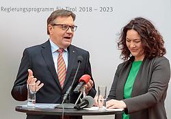 22.03.2018, Congress, Innsbruck, AUT, Gemeinsame PK Tiroler Grüne und Tiroler ÖVP, Regierungsprogramm 2018 bis 2023, im Bild v.l. LH Günther Platter, LH Stv. Ingrid Felipe // f.l. Govenor Günther Platter Deputy Governor Ingrid Felipe during a press conference of the Tyrolean Greens and the Tyrolean OeVP at the Congress in Innsbruck, Austria on 2018/03/22. EXPA Pictures © 2018, PhotoCredit: EXPA/ Johann Groder