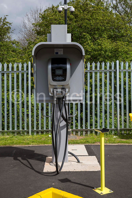Charging point for the Ecolink zero emissions buses in Nottingham, Nottinghamshire, United Kingdom. Nottingham uses electric buses as part of the council's plan to clear the city air and become more eco-friendly.