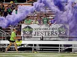 22 June 2016. New Orleans, Louisiana.<br /> NPSL Soccer, Pan American Stadium.<br /> New Orleans Jesters v Nashville FC. The loyal, Royal Court' cheer on their team. Jesters emerge victorious with a 2-0 win.<br /> Photo; Charlie Varley/varleypix.com