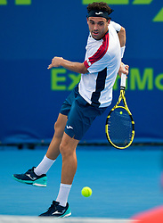 Marco Cecchinato of Italy returns the ball to Sergiy Stakhovsky of Ukraine during their first round of ATP Qatar Open Tennis match at the Khalifa International Tennis Complex in Doha, capital of Qatar, on January 01, 2019. Cecchinato won 2-0  (Credit Image: © Nikku/Xinhua via ZUMA Wire)