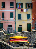 RIOMAGGIORE, ITALY - CIRCA MAY 2015:  Colorful walls and windows in the village of Riomaggiore in Cinque Terre, Italy.