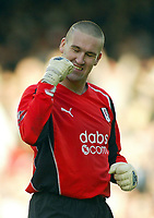 30/10/2004<br />FA Barclays Premiership - Fulham v Tottenham Hotspur - Craven Cottage, London<br />Fulham's goalkeeper Mark Crossley, in for injured Edwin Van Der Sar, celebrates the opening Fulham goal.<br />Photo:Jed Leicester/Back Page Images