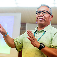 062515  Adron Gardner/Independent<br /> <br /> Emerson John discusses the health and cultural impact of corn during Tsehootsoi Medical Center culture night at the St. Michaels Chapter House Thursday.
