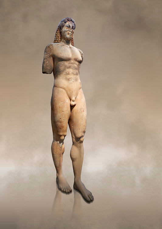 Marble Anxcient Greek Archaic meble statue of a kouros, circa 530 BC, found in Kea,  Athens National Archaeological Museum. Cat no 3886.<br /> <br /> The statue is a lively sculpture with good plasticity in the rendering of the torso. Made by a Kea sculptor. .<br /> <br /> If you prefer to buy from our ALAMY STOCK LIBRARY page at https://www.alamy.com/portfolio/paul-williams-funkystock/greco-roman-sculptures.html . Type -    Athens    - into LOWER SEARCH WITHIN GALLERY box - Refine search by adding a subject, place, background colour, etc.<br /> <br /> Visit our ROMAN WORLD PHOTO COLLECTIONS for more photos to download or buy as wall art prints https://funkystock.photoshelter.com/gallery-collection/The-Romans-Art-Artefacts-Antiquities-Historic-Sites-Pictures-Images/C0000r2uLJJo9_s0