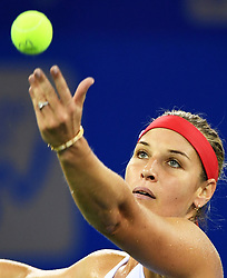 WUHAN, Sept. 27, 2017 Dominika Cibulkova of Slovakia serves during the singles third round match against Caroline Garcia of France at 2017 WTA Wuhan Open in Wuhan, capital of central China's Hubei Province, on Sept. 27, 2017. Dominika Cibulkova lost 0-2.  wdz) (Credit Image: © Cheng Min/Xinhua via ZUMA Wire)