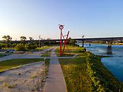 Big Mo, an artistic statue by Mark di Suvero, found in the Tom Hanafan River's Edge Park, Council Bluffs, Iowa, USA.
