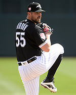 GLENDALE, ARIZONA - MARCH 02:  Carlos Rodon #55 of the Chicago White Sox pitches against the Colorado Rockies on March 2, 2019 at Camelback Ranch in Glendale Arizona.  (Photo by Ron Vesely)  Subject:  Carlos Rodon