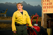 """PRICE CHAMBERS / NEWS&GUIDE<br /> Kathy Clay is Wyoming's first female fire marshal. Jackson Hole Fire/EMS officials promoted her to the position in 2010 after she volunteered for the organization begining in 2002. Clay said she learned how to deal with men at an early age, driving tractors and working in the field on her family's farm in Ottawa, Ill. She also was a regular competitor in her town's Friday night trapshoot, starting at age 12. """"My dad always wanted a son,"""" she said."""
