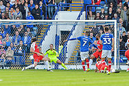 Portsmouth Midfielder, Stuart O'Keefe (7) has a shot at goal during the EFL Sky Bet League 1 match between Portsmouth and Fleetwood Town at Fratton Park, Portsmouth, England on 16 September 2017. Photo by Adam Rivers.