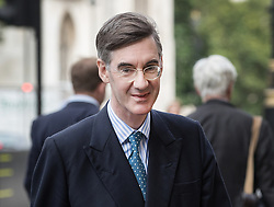 © Licensed to London News Pictures. 06/09/2017. London, UK. Conservative MP JACOB REES-MOGG is seen in Westminster on the day  he made controversial comments about abortion and gay marriage, during a breakfast television interview. Photo credit: Peter Macdiarmid/LNP