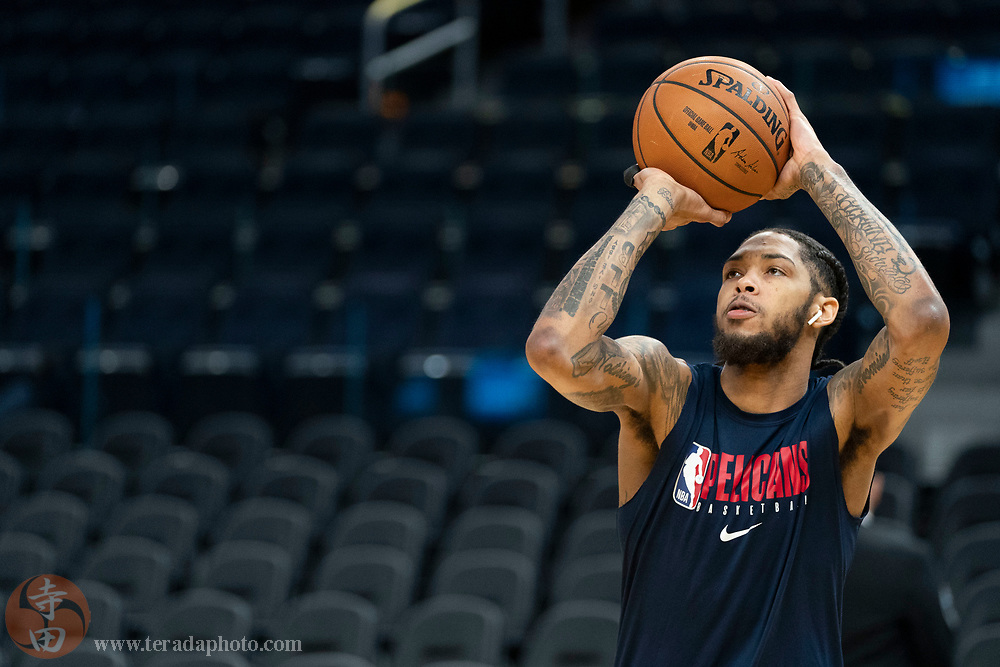 February 23, 2020; San Francisco, California, USA; New Orleans Pelicans forward Brandon Ingram (14) warms up before the game against the Golden State Warriors at Chase Center.