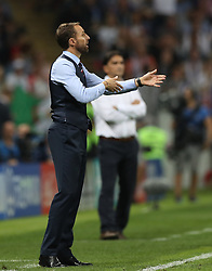 MOSCOW, July 11, 2018  Head coach Gareth Southgate of England gives instructions to players during the 2018 FIFA World Cup semi-final match between England and Croatia in Moscow, Russia, July 11, 2018. Croatia won 2-1 and advanced to the final. (Credit Image: © Xu Zijian/Xinhua via ZUMA Wire)