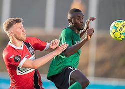 Teddy Bergqvist (FC Helsingør) og Abdoulie Njai (Næstved Boldklub) under træningskampen mellem FC Helsingør og Næstved Boldklub den 19. august 2020 på Helsingør Stadion (Foto: Claus Birch).
