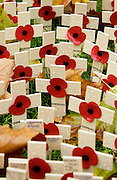Poppies and crosses of remembrance for the war dead soldiers and armed forces at St Margaret's Church in Westminster, London