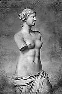 The Venus de Milo  an ancient Greek sculpture from the Hellenistic period, depicting a Greek goddess, Louvre Museum, Paris.  Wall art print by Photographer Paul E Williams .  Sculpted sometime between 150 and 125 BC, the work was originally attributed to the sculptor Praxiteles, but, based upon an inscription on its plinth, the statue is now widely agreed to be the work of Alexandros of Antioch. The statue is believed to depict Aphrodite, the Greek goddess of love and beauty, and it bears the name of Venus, the Roman counterpart of Aphrodite. Some scholars theorize that the statue actually represents the sea-goddess Amphitrite, who was venerated on Milos.