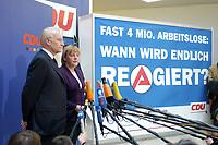17 JAN 2002, BERLIN/GERMANY:<br /> Edmund Stoiber, CSU, Ministerpraesident Bayern und CDU/CSU Spitzenkandidat, und Angela Merkel, CDU Bundesvorsitzende, waehrend einem Pressestatement zu einer vorangegangenen Besprechung ueber die Organisation des Bundestagswahlkampfes, CDU Bundesgeschaeftsstelle<br /> IMAGE: 20020117-01-002<br /> KEYWORDS: Ministerpräsident, Mikrofon, microphone, Pressekonferenz
