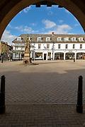 Historic buildings in the town Market Square, Saffron Walden, Essex, England, UK
