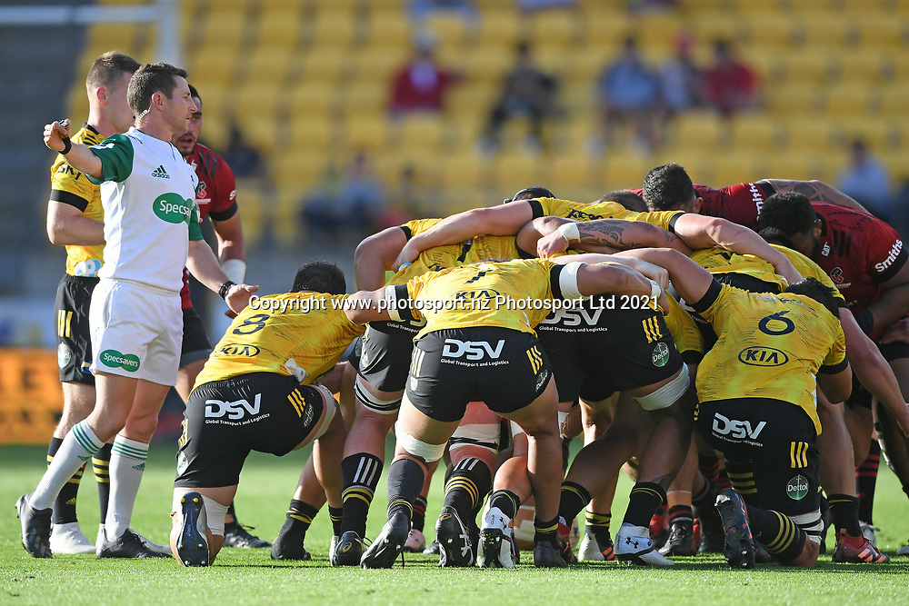 Match referee Paul Williams sets a scrum in the Super Rugby match, Hurricanes v Crusaders, Sky Stadium, Wellington, Sunday, April 11, 2021. Copyright photo: Kerry Marshall / www.photosport.nz