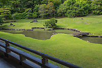 Kenchoji garden is located in the back of the temple complex, behind the Hojo quarters of the head priest. Muso Soseki, a famous Zen priest and garden designer, is said to have designed and constructed the garden.  Sampeki Pond reminds of the shape of the character which stands for mind or heart and is an important element in Zen Buddhism.