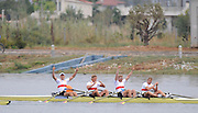 Marathon, GREECE,  GER M4X,  celebrate after winning thes silver medal in the men's quadruple sculls, at the FISA European Rowing Championships.  Lake Schinias Rowing Course, SAT. 20.09.2008  [Mandatory Credit Peter Spurrier/ Intersport Images] , Rowing Course; Lake Schinias Olympic Rowing Course. GREECE