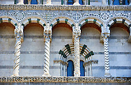 Detail of the 13th century Romaesque arcade pillars, sculptures and inlaid depictions of animals of the Cattedrale di San Martino,  Duomo of Lucca, Tunscany, Italy, .<br /> <br /> Visit our ITALY PHOTO COLLECTION for more   photos of Italy to download or buy as prints https://funkystock.photoshelter.com/gallery-collection/2b-Pictures-Images-of-Italy-Photos-of-Italian-Historic-Landmark-Sites/C0000qxA2zGFjd_k<br /> <br /> If you prefer to buy from our ALAMY PHOTO LIBRARY  Collection visit : https://www.alamy.com/portfolio/paul-williams-funkystock/lucca.html .<br /> <br /> Visit our MEDIEVAL PHOTO COLLECTIONS for more   photos  to download or buy as prints https://funkystock.photoshelter.com/gallery-collection/Medieval-Middle-Ages-Historic-Places-Arcaeological-Sites-Pictures-Images-of/C0000B5ZA54_WD0s