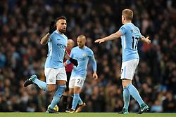 Manchester City's Nicolas Otamendi (left) celebrates scoring his side's first goal of the game