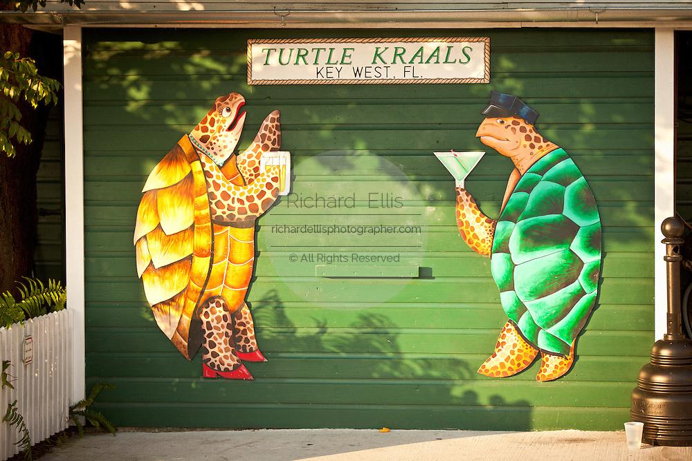 Turtle Kraals bar & restaurant and wall mural Key West, Florida.