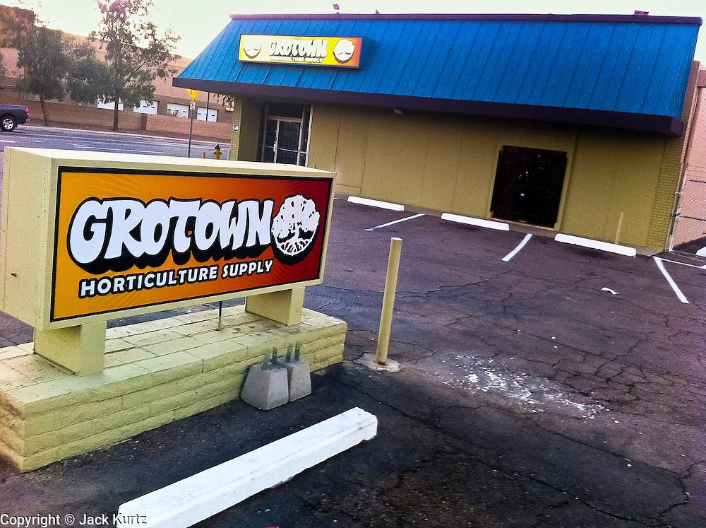 18 NOVEMBER 2011 - PHOENIX, AZ: A marijuana supply store at the intersection of Indian School and N 20th Street in Phoenix, AZ. PHOTO BY JACK KURTZ