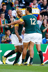 South Africa Winger JP Pietersen celebrates scoring the first try of the game - Mandatory byline: Rogan Thomson/JMP - 07966 386802 - 26/09/2015 - RUGBY UNION - Villa Park - Birmingham, England - South Africa v Samoa - Rugby World Cup 2015 Pool B.
