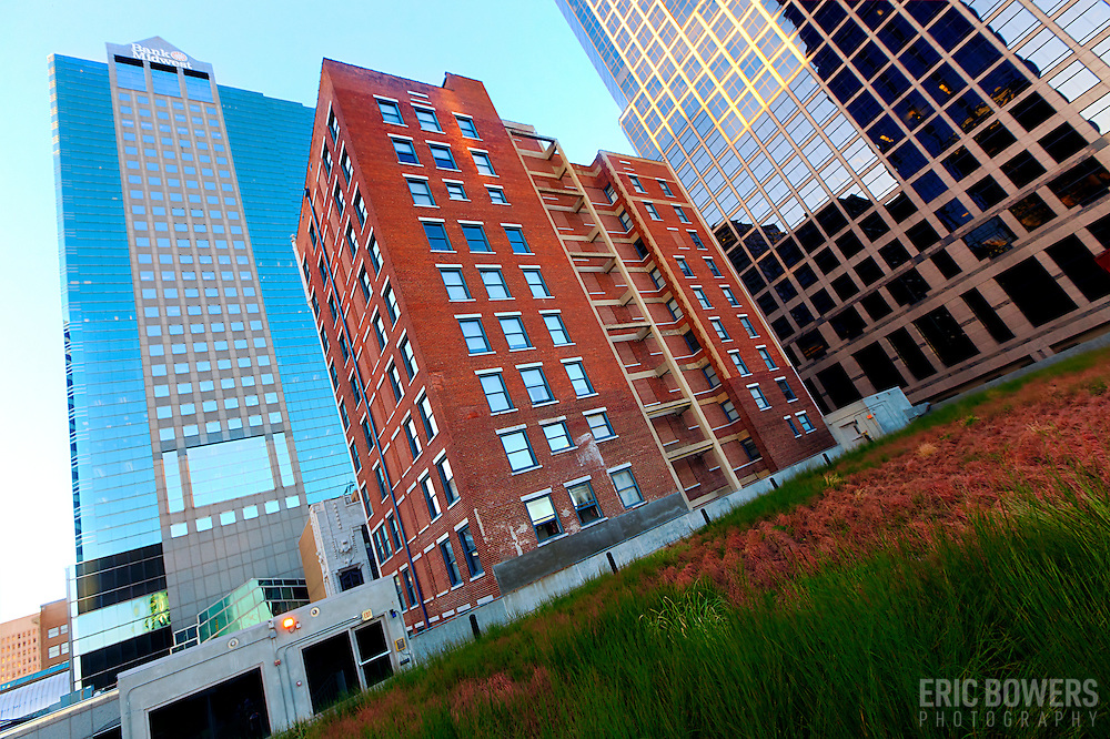 Chambers Building and other Kansas City high-rises, seen from green roof at downtown Kansas City's Power and Light District.