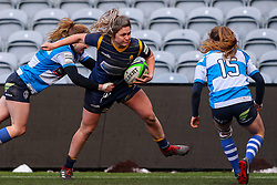 Hannah Bluck of Worcester Warriors Women is tackled on the left touchline - Mandatory by-line: Nick Browning/JMP - 09/01/2021 - RUGBY - Sixways Stadium - Worcester, England - Worcester Warriors Women v DMP Durham Sharks - Allianz Premier 15s